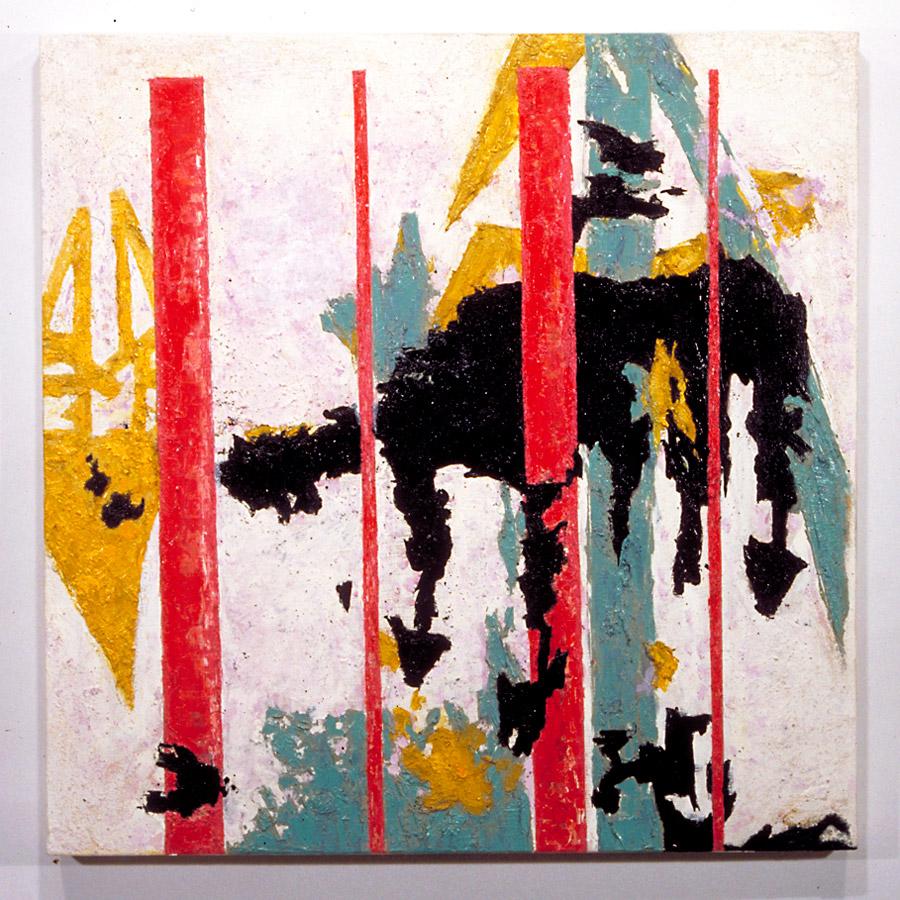 """Stil1/Tob/Kra2/New4/Klin8>2:Pt., 1998, Oil on Wood, 24"""" x 24"""" x 1.75"""""""